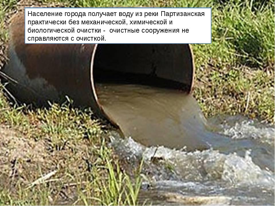 Население города получает воду из реки Партизанская практически без механичес...