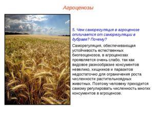 Агроценозы 5. Чем саморегуляция в агроценозе отличается от саморегуляции в ду