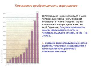 Повышение продуктивности агроценозов В 2000 году на Земле проживало 6 млрд че