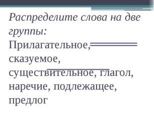 Распределите слова на две группы: Прилагательное, сказуемое, существительное,