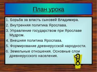 План урока 1. Борьба за власть сыновей Владимира. 2. Внутренняя политика Ярос