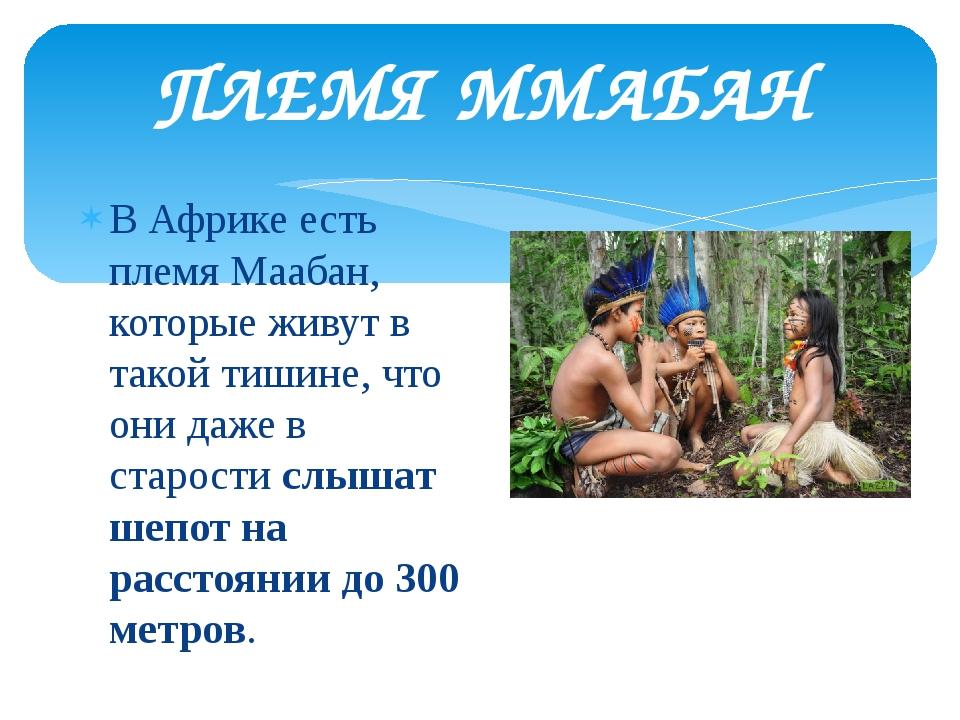 ПЛЕМЯ ММАБАН В Африке есть племя Маабан, которые живут в такой тишине, что он...