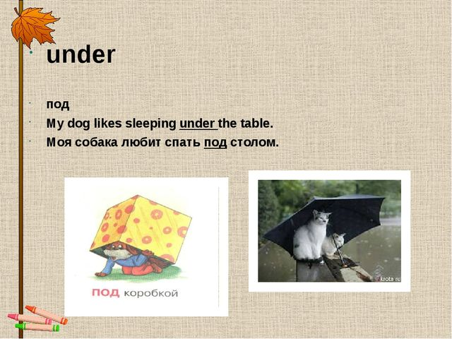 under под My dog likes sleepingunder the table. Моя собака любит спатьподс...