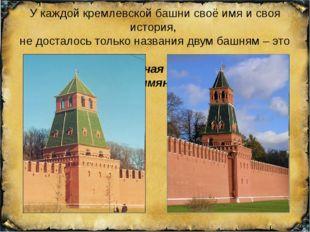У каждой кремлевской башни своё имя и своя история, не досталось только назва