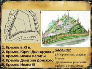Схема расширения территории Московского Кремля 1. Кремль в XI в. 2. Кремль Ю