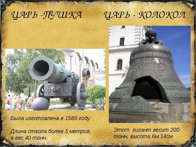 ЦАРЬ -ПУШКА ЦАРЬ - КОЛОКОЛ Была изготовлена в 1586 году. Длина ствола более 5...