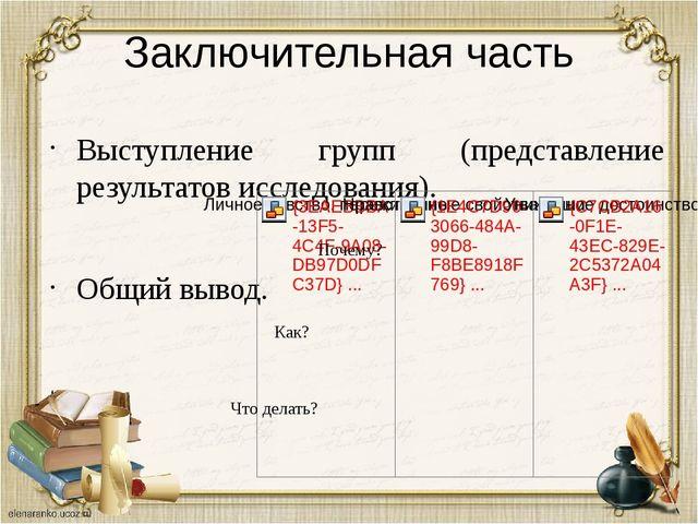 Заключительная часть Выступление групп (представление результатов исследовани...