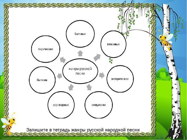 Запишите в тетрадь жанры русской народной песни