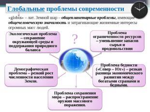 * * Глобальные проблемы современности «globus» – лат. Земной шар – общепланет