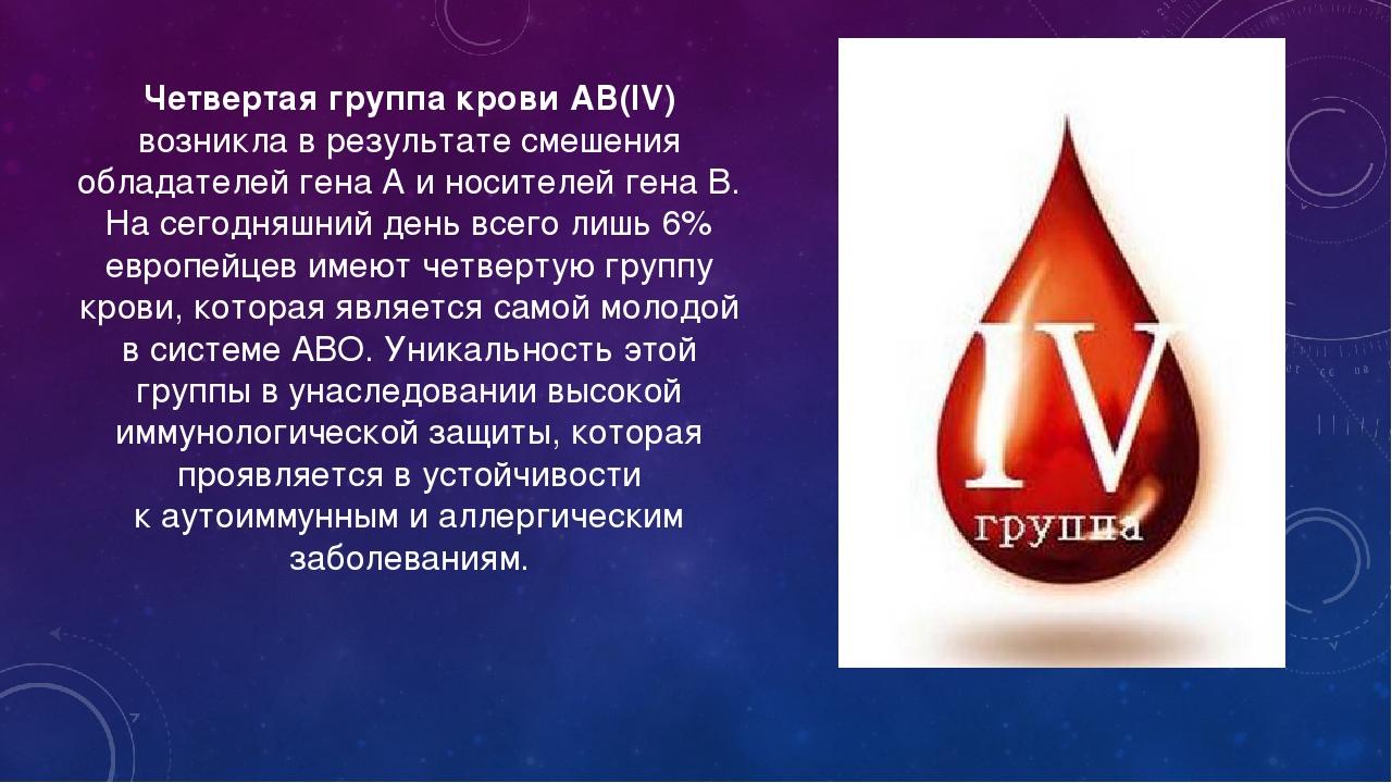 Четвертая группа крови АВ(IV) возникла врезультате смешения обладателей гена...
