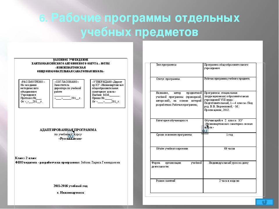 6. Рабочие программы отдельных учебных предметов Контроль и оценка планируемы...