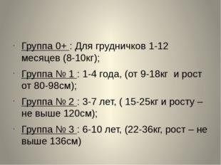 Группа 0+ : Для грудничков 1-12 месяцев (8-10кг); Группа № 1 : 1-4 года, (от
