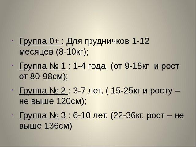 Группа 0+ : Для грудничков 1-12 месяцев (8-10кг); Группа № 1 : 1-4 года, (от...