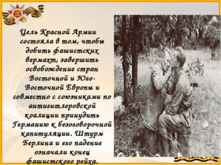 Цель Красной Армии состояла в том, чтобы добить фашистских вермахт, завершить