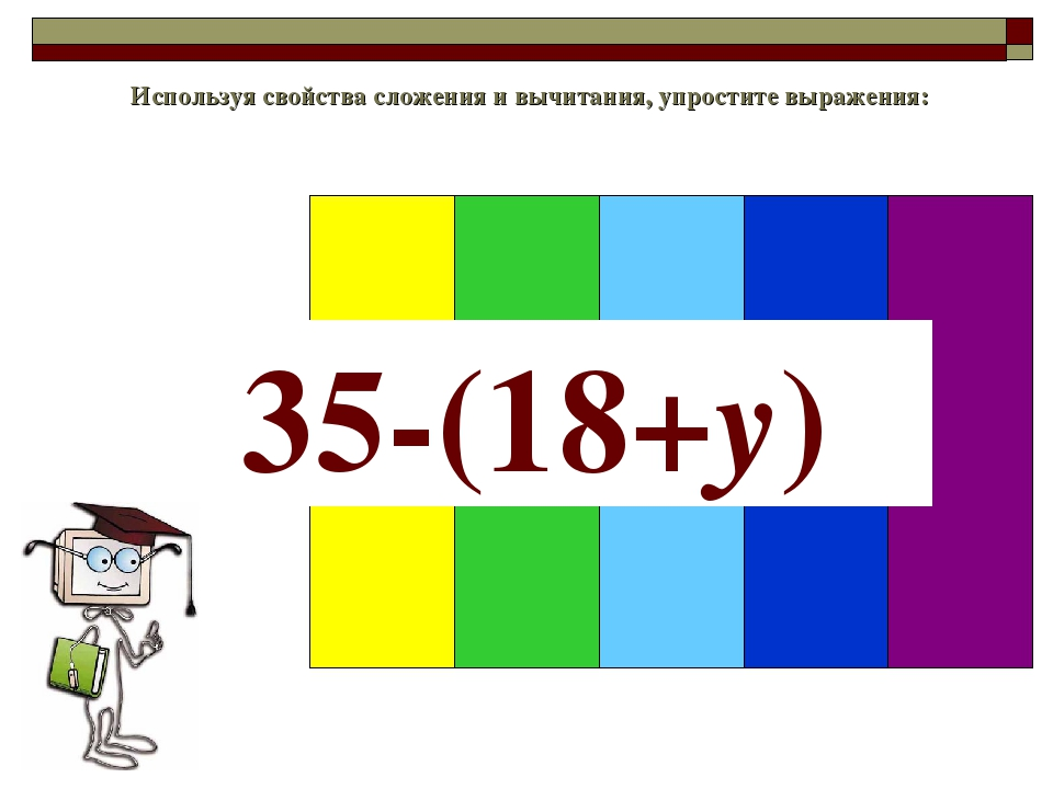 Используя свойства сложения и вычитания, упростите выражения: 35-(18+y)