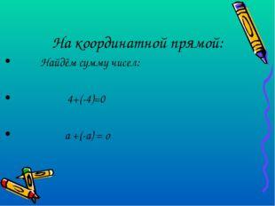 На координатной прямой: Найдём сумму чисел: 4+(-4)=0 а +(-а) = о
