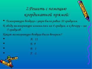 2.Решить с помощью координатной прямой: Температура воздуха с утра была равна