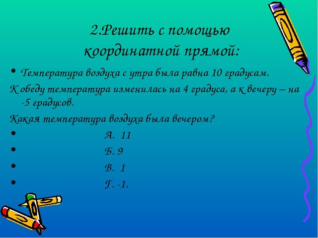 2.Решить с помощью координатной прямой: Температура воздуха с утра была равна...