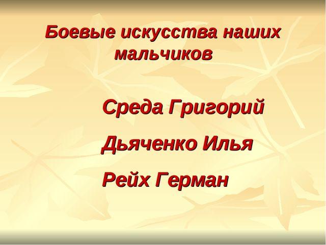 Боевые искусства наших мальчиков Среда Григорий Дьяченко Илья Рейх Герман