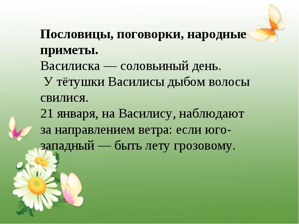 Пословицы, поговорки, народные приметы. Василиска — соловьиный день. У тётушк...