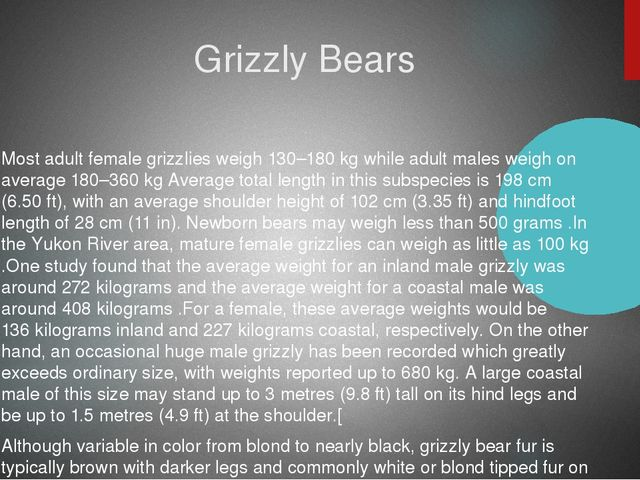 Grizzly Bears Most adult female grizzlies weigh 130–180 kg while adult males...