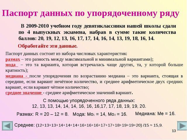 Паспорт данных по упорядоченному ряду В 2009-2010 учебном году девятиклассник...