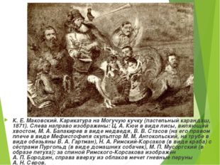 К. Е.Маковский. Карикатура на Могучую кучку (пастельный карандаш, 1871). Сле