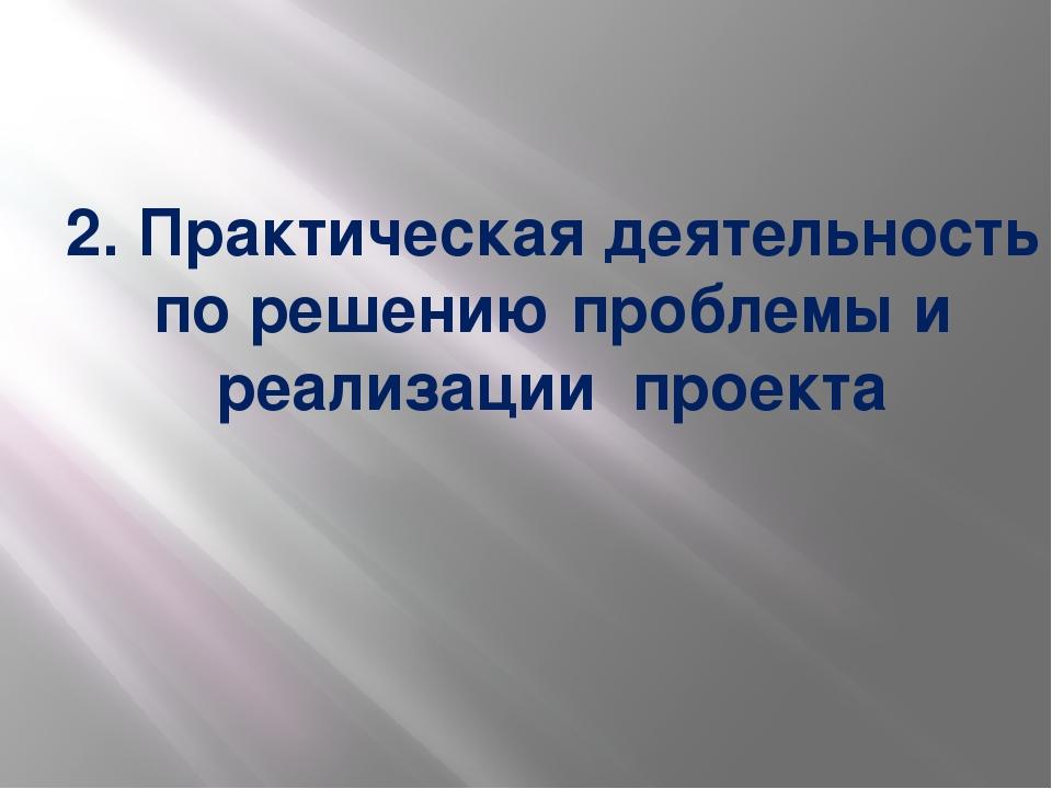 2. Практическая деятельность по решению проблемы и реализации проекта