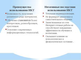 Преимущества использования ИКТ Возможность получения различного рода материал