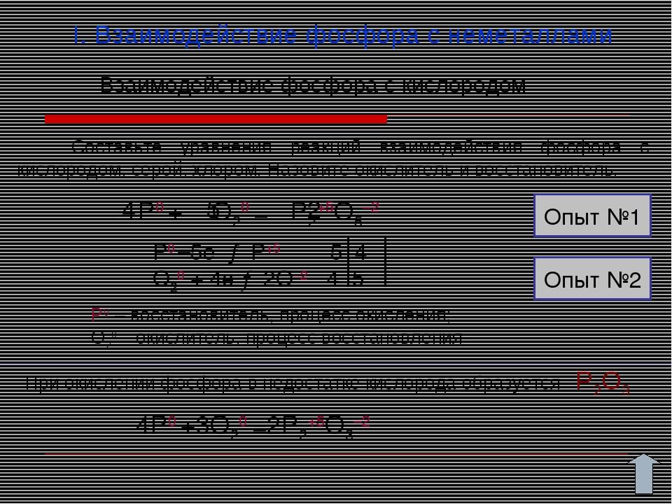 I. Взаимодействие фосфора с неметаллами Составьте уравнения реакций взаимодей...