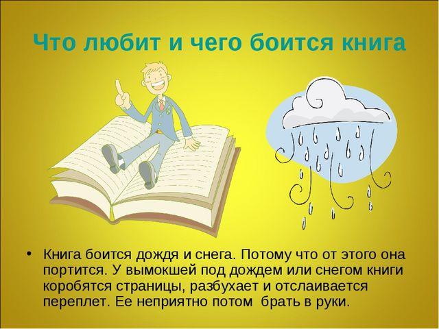 Что любит и чего боится книга Книга боится дождя и снега. Потому что от этого...