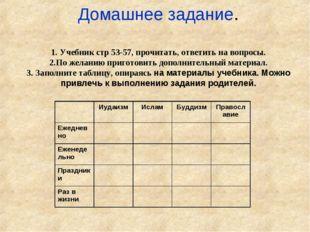 Домашнее задание. 1. Учебник стр 53-57, прочитать, ответить на вопросы. 2.По