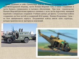 Армия включает в себя: Сухопутные войска, Военно-Воздушные силы, войска Проти