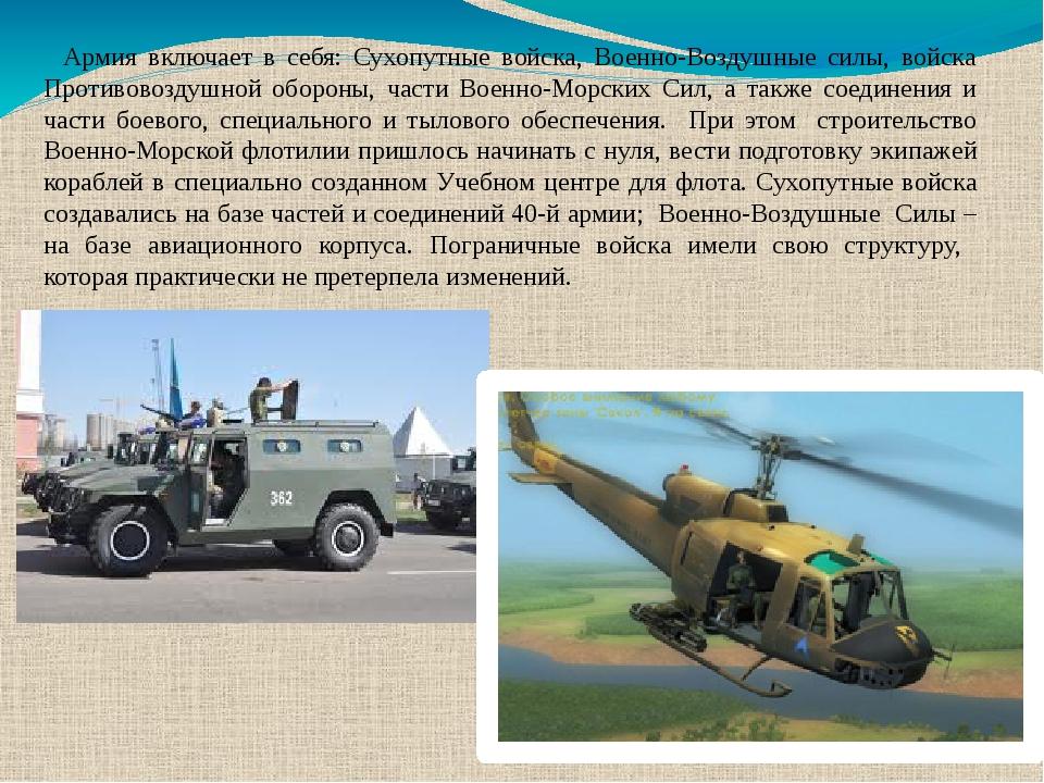 Армия включает в себя: Сухопутные войска, Военно-Воздушные силы, войска Проти...