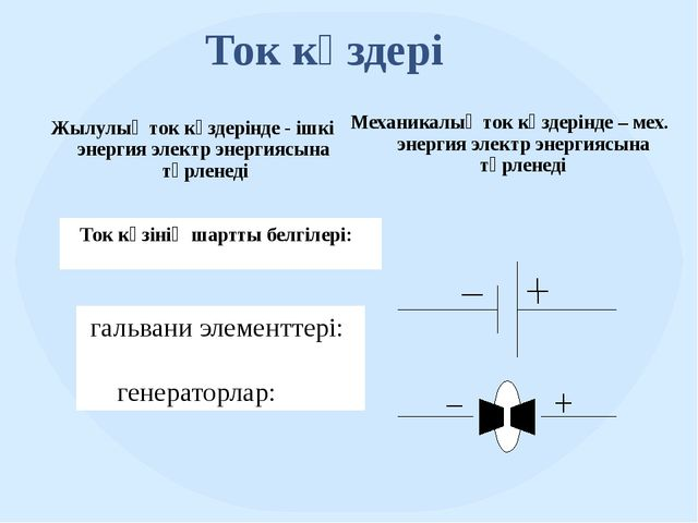 Ток көздері Ток көзінің шартты белгілері: гальвани элементтері: генераторлар:...