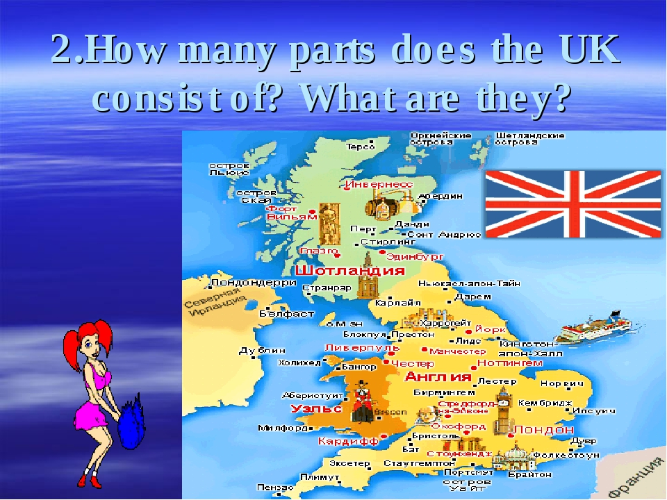 2.How many parts does the UK consist of? What are they?
