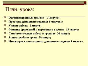 План урока: Организационный момент - 1 минута; Проверка домашнего задания 3 м