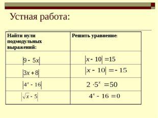 Устная работа: Найти нули подмодульных выражений: Решить уравнение: