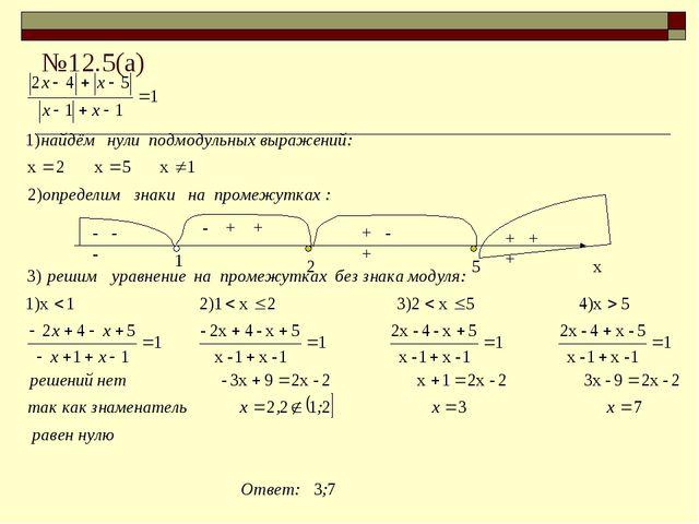 №12.5(а) х 1 2 5 - - - + - + + + + - + +