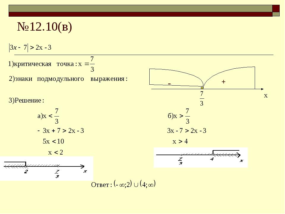 №12.10(в) х - +