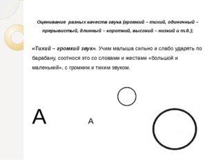 Оценивание разных качеств звука (громкий – тихий, одиночный – прерывистый, дл