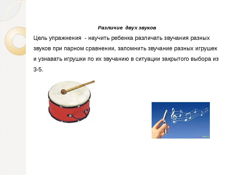 Различие двух звуков Цель упражнения - научить ребенка различать звучания раз...