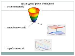 Цилиндр по форме основания: эллиптический; гиперболический; параболический.