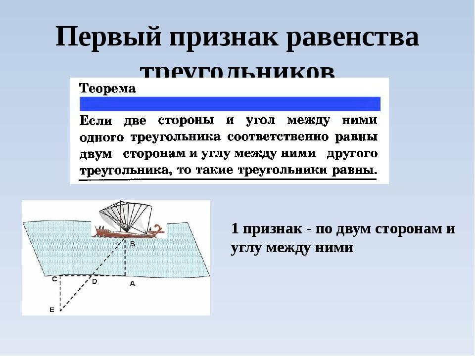 Первый признак равенства треугольников 1 признак - по двум сторонам и углу ме...