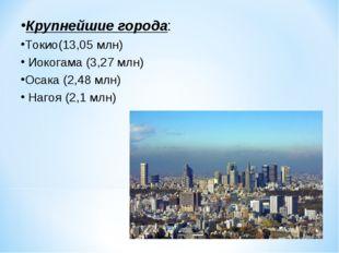 Крупнейшие города: Токио(13,05 млн) Иокогама(3,27 млн) Осака(2,48 млн)