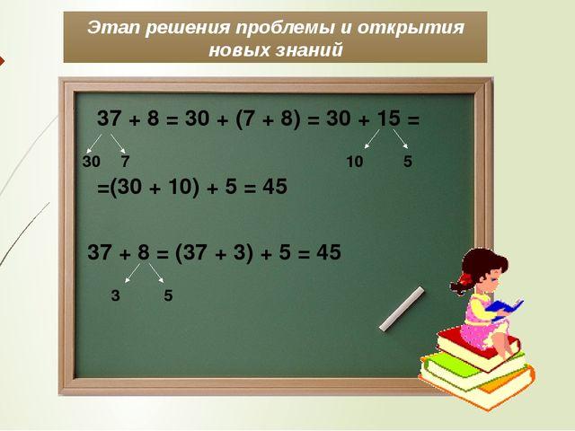 Этап решения проблемы и открытия новых знаний 37 + 8 = 30 + (7 + 8) = 30 + 15...
