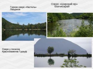 Озеро «Широкий яр» Бахчисарай Горное озеро «Кастель» Лазурное Озеро у поселка