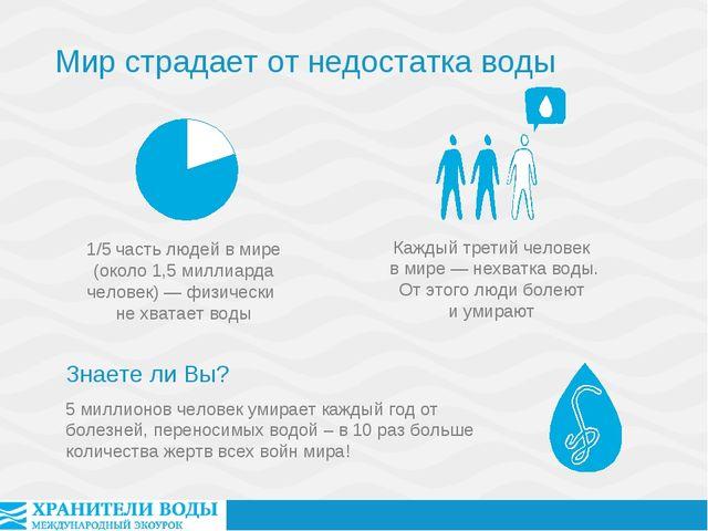 5 миллионов человек умирает каждый год от болезней, переносимых водой – в 10...