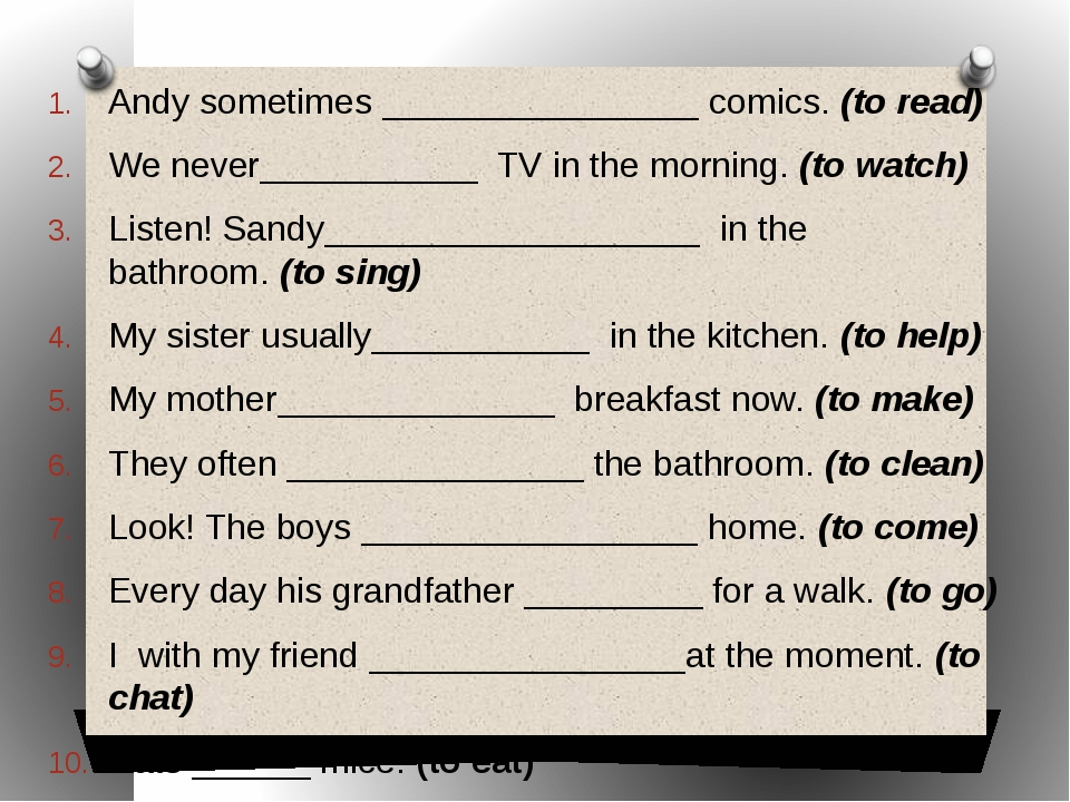 Andy sometimes________________comics.(to read) We never___________TV in...