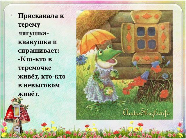 Прискакала к терему лягушка-квакушка и спрашивает: -Кто-кто в теремочке живё...